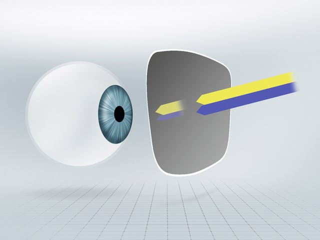 Tinted or self-tinting lenses partially absorb blue-violet light